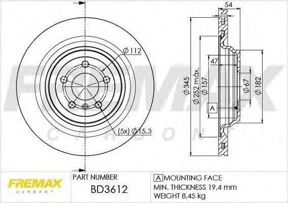 Диск тормозной FREMAX BD3612