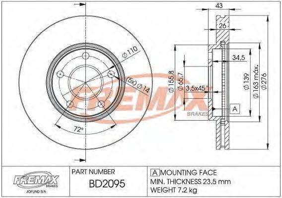 Тормозной диск FREMAX BD2095