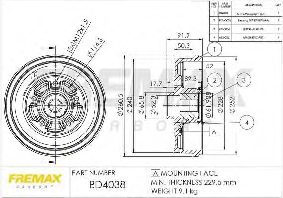Тормозной барабан FREMAX BD4038