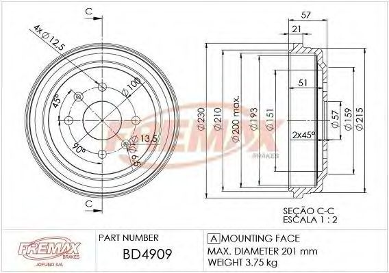 Барабан тормозной FREMAX BD4909