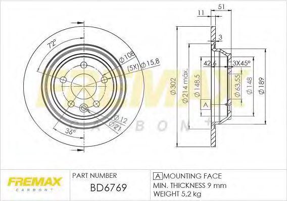 Диск тормозной FREMAX BD6769