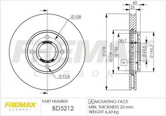 Тормозной диск FREMAX BD5212