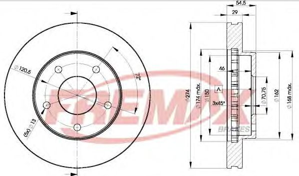 Тормозной диск FREMAX BD3966