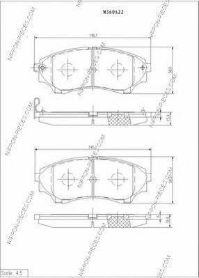 Комплект тормозных колодок, дисковый тормоз NPS M360A22