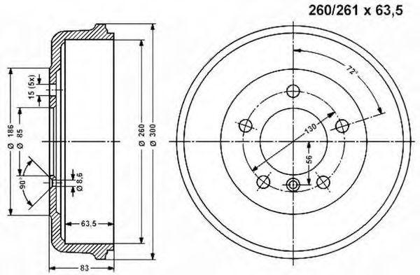 Тормозной барабан VEMA 800849