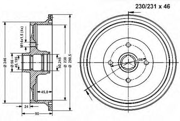 Тормозной барабан VEMA 801114
