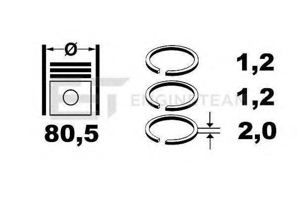 Комплект поршневых колец ET ENGINETEAM R1003300