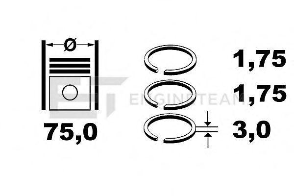 Комплект поршневых колец ET ENGINETEAM R4001600