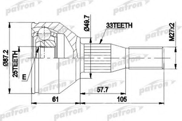 Шарнирный комплект, приводной вал PATRON PCV9110