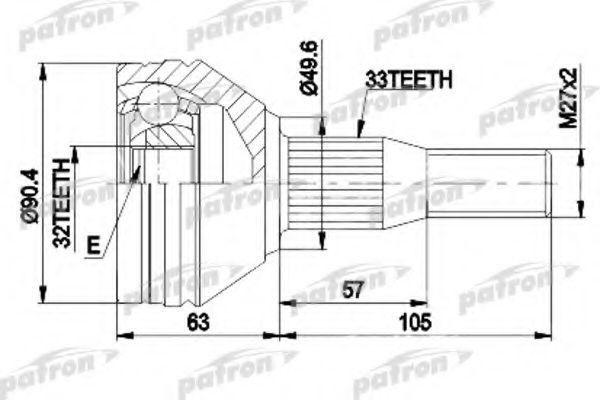 Шарнирный комплект, приводной вал PATRON PCV9838