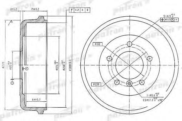 Тормозной барабан PATRON PDR1096