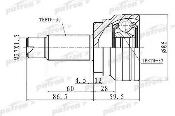 Шарнирный комплект, приводной вал PATRON PCV3006