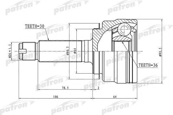 Шарнирный комплект, приводной вал PATRON PCV1289
