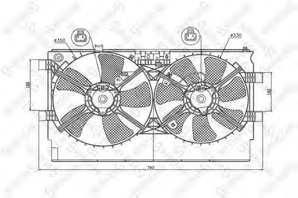 Вентилятор, охлаждение двигателя Stellox 2999380SX