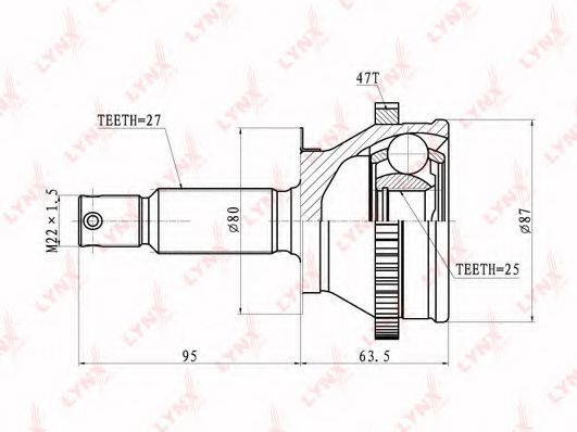 Шарнирный комплект, приводной вал LYNXauto CO3606A