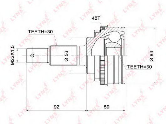 Изображение Шарнирный комплект, приводной вал LYNXauto CO3710A: продажа