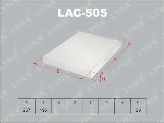Фильтр, воздух во внутренном пространстве LYNXauto LAC505
