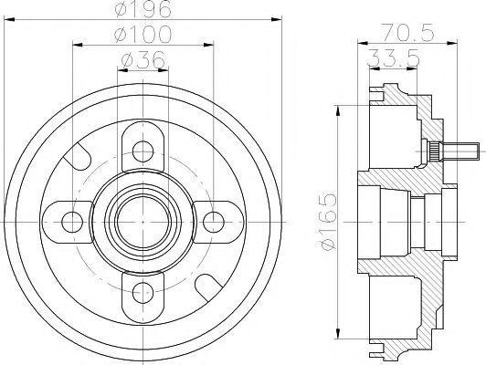 Тормозной барабан HELLA PAGID 8DT355301081