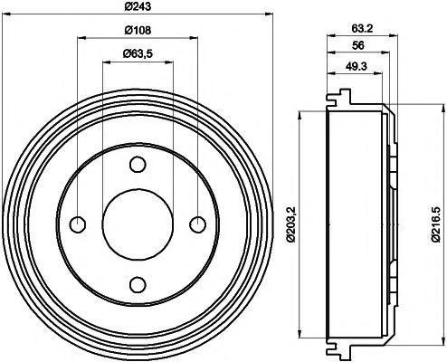Тормозной барабан HELLA PAGID 8DT355301291