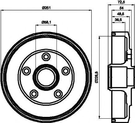 Тормозной барабан HELLA PAGID 8DT355301301