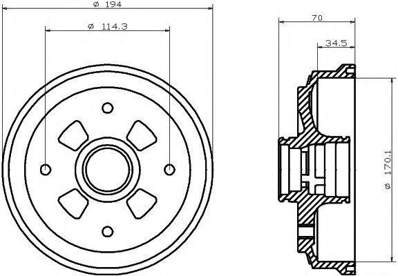 Тормозной барабан HELLA PAGID 8DT355302001