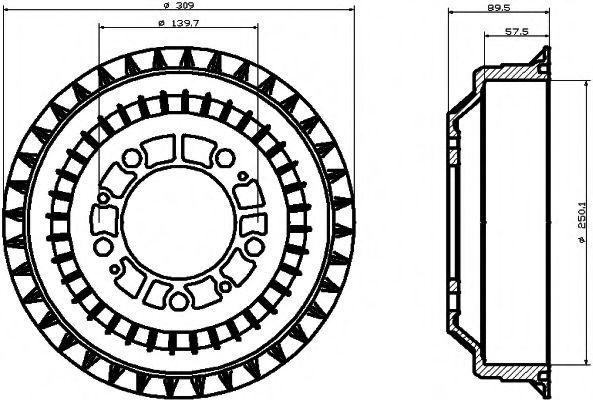 Тормозной барабан HELLA PAGID 8DT355301991