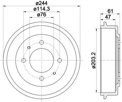 Тормозной барабан HELLA PAGID 8DT355301781