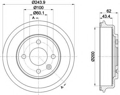 Тормозной барабан HELLA PAGID 8DT355302651