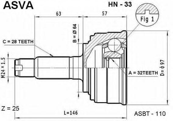 Шарнирный комплект, приводной вал ASVA HN33
