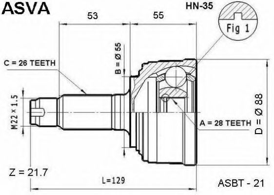 Шарнирный комплект, приводной вал ASVA HN35