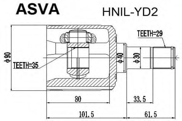 Шарнирный комплект, приводной вал ASVA HNILYD2
