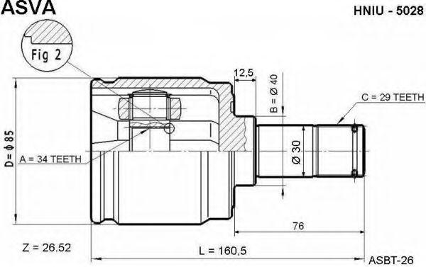Шарнирный комплект, приводной вал ASVA HNIU5028