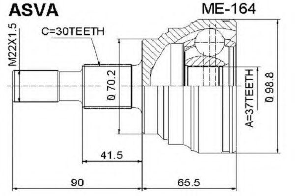 Шарнирный комплект, приводной вал ASVA ME164