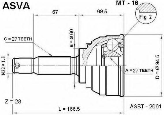 Шарнирный комплект, приводной вал ASVA MT16
