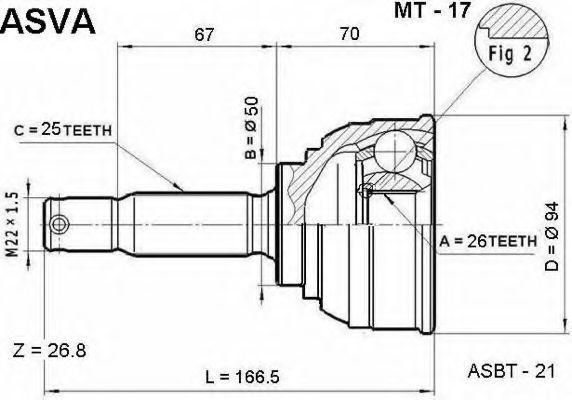 Шарнирный комплект, приводной вал ASVA MT17