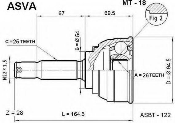 Шарнирный комплект, приводной вал ASVA MT18