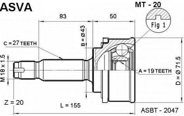 Шарнирный комплект, приводной вал ASVA MT20