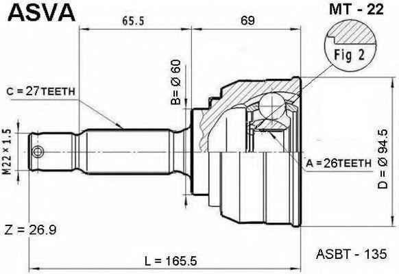 Шарнирный комплект, приводной вал ASVA MT22