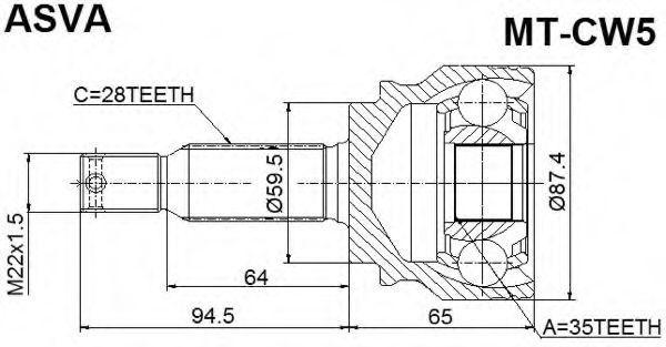 Шарнирный комплект, приводной вал ASVA MTCW5