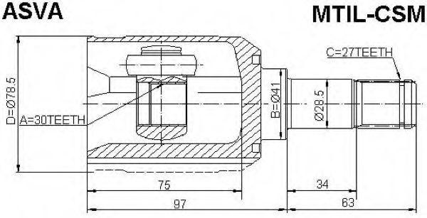 Шарнирный комплект, приводной вал ASVA MTILCSM