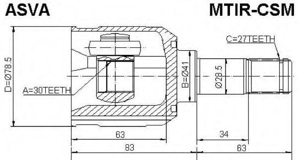Шарнирный комплект, приводной вал ASVA MTIRCSM