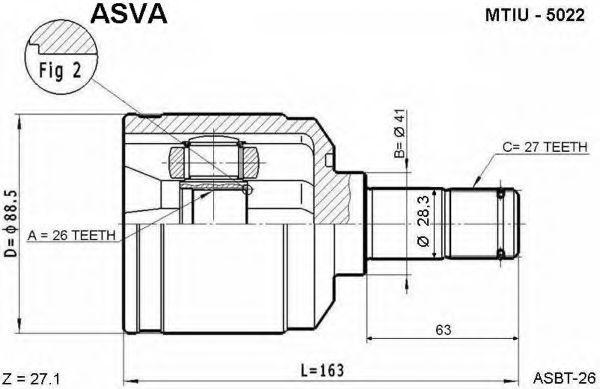 Шарнирный комплект, приводной вал ASVA MTIU5022