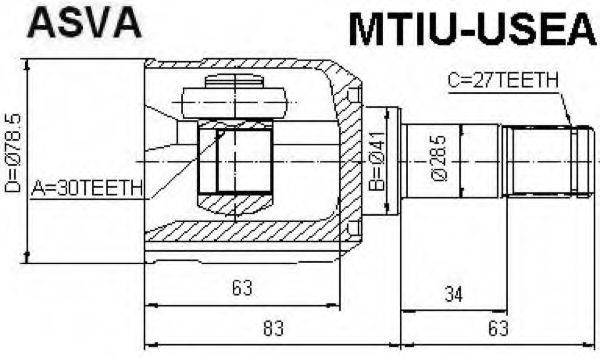 Шарнирный комплект, приводной вал ASVA MTIUUSEA