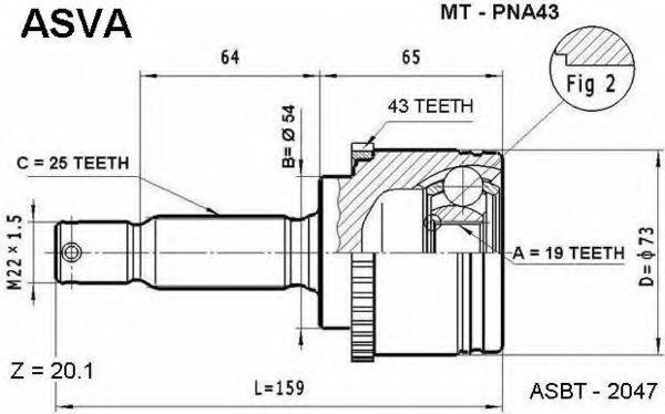Шарнирный комплект, приводной вал ASVA MTPNA43