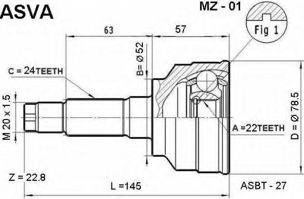 Шарнирный комплект, приводной вал ASVA MZ01