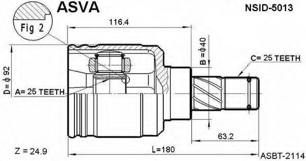 Шарнирный комплект, приводной вал ASVA NSID5013