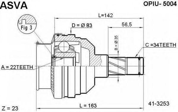 Шарнирный комплект, приводной вал ASVA OPIU5004