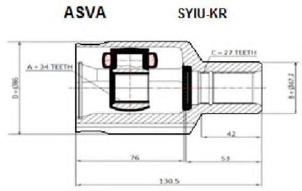 Шарнирный комплект, приводной вал ASVA SYIUKR
