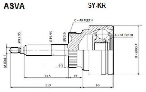 Шарнирный комплект, приводной вал ASVA SYKR