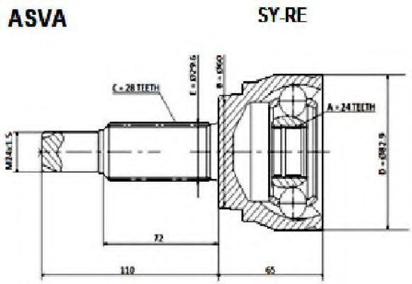 Шарнирный комплект, приводной вал ASVA SYRE